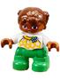 Getint meisje met bril, groene broek, geel/witte trui en 2 staartjes (NIEUW)