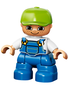 Jongetje / kind blauwe tuinbroek en groene pet (NIEUW)